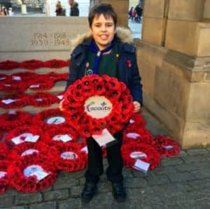 Cub lays our Remembrance wreath