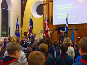 Flags paraded in church