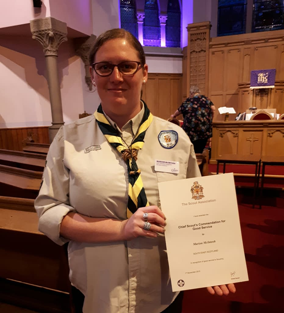 Marion and her Chief Scout's Commendation for Good Service