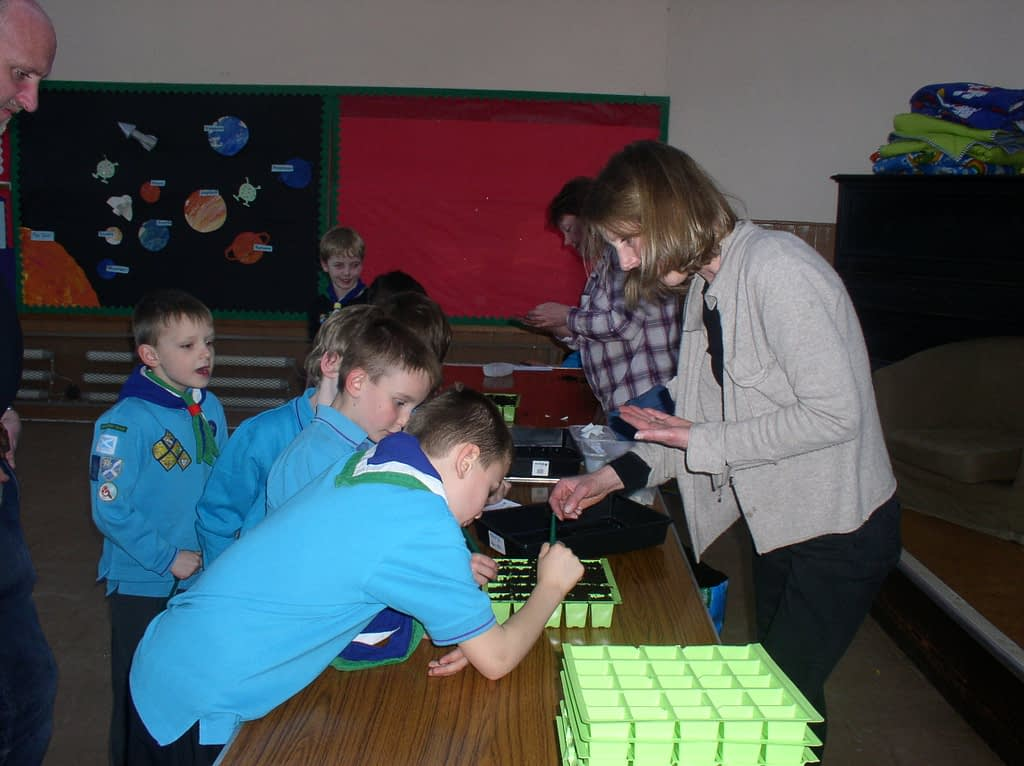 Beavers at Kelso Scout Group planting seeds from space
