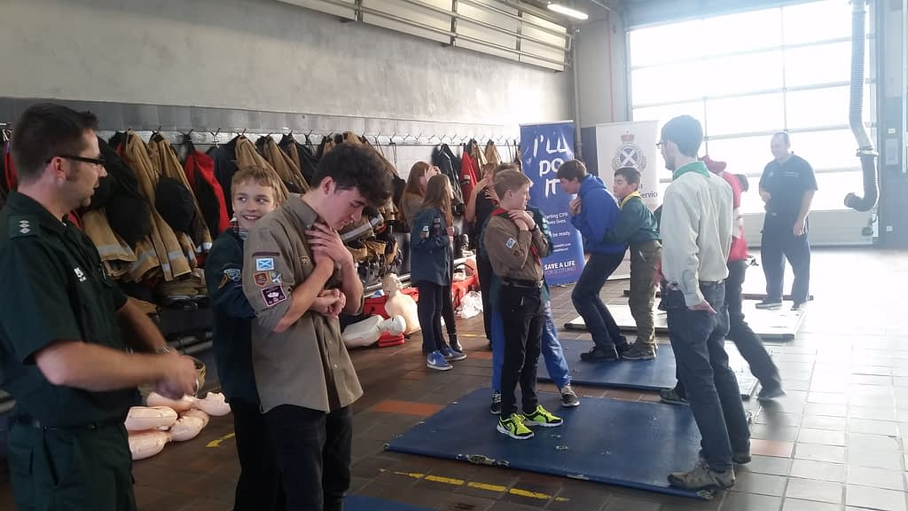 Scouts and Explorers learning life-saving skills