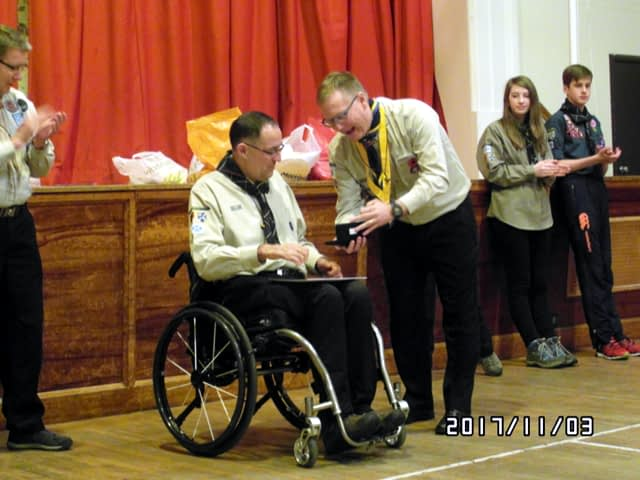 Graham Cullen is awarded the Chief Scout's Commendation for Meritorious Service