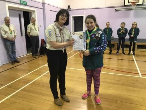 Jen receives her Chief Scout's Gold Award